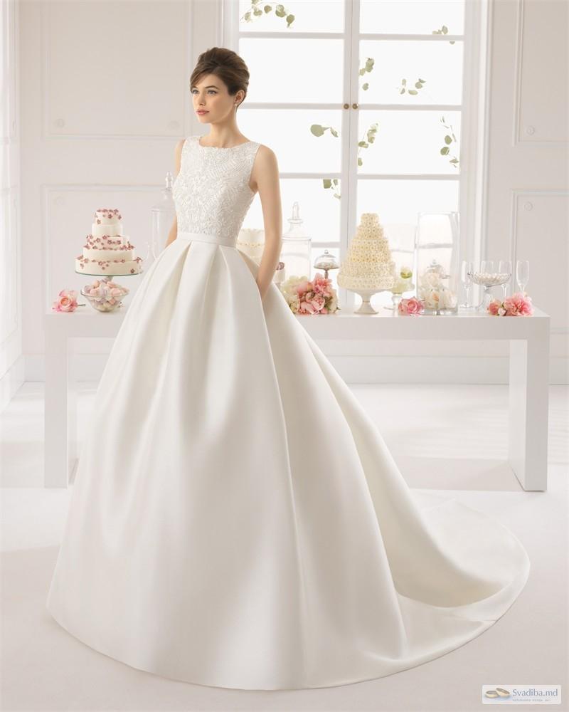 Фото свадебных платьев с атласной юбкой